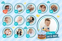 Blue & White 1st year of life poster template