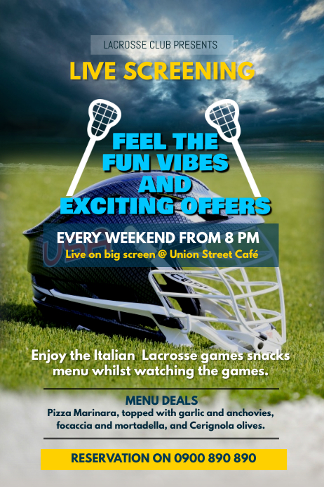 Blue & Yellow Lacrosse Screening Poster Template