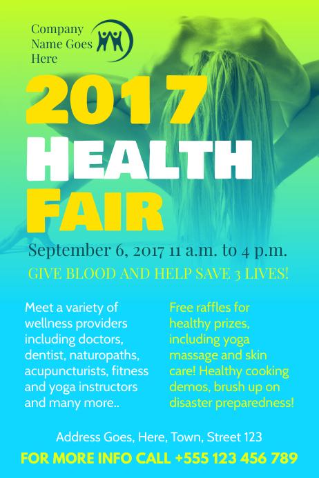 Blue Green Health Fair Poster Template
