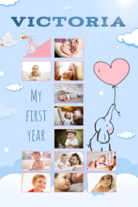 Blue 1st year of life portrait poster template