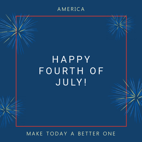 Blue 4th of July Fireworks Instagram Post Template