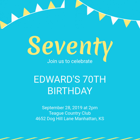 Blue 70th Birthday Instagram Template