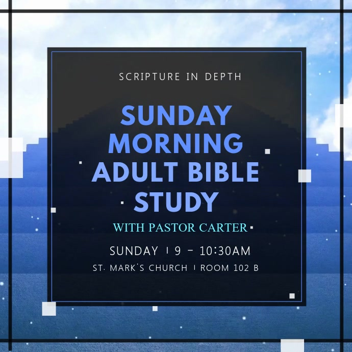 Blue Adult Bible Study Sessions Church Ad Instagram Video