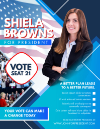 Blue American Presidential Elections Advert Flyer (US-Letter) template