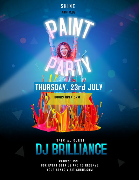 Blue and Black Paint Party Flyer