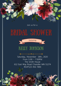 Blue and deep Red flower bridal shower party