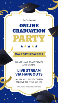 Blue and gold online graduation party invite Digitalt display (9:16) template