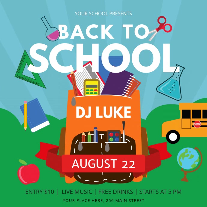 Blue and Green Back to School Square Video