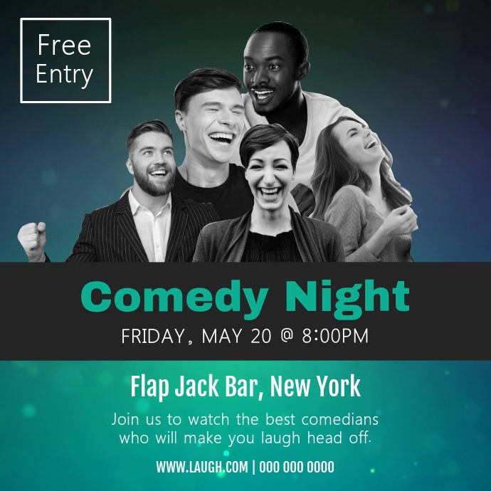Blue and Green Comedy Night Square Video