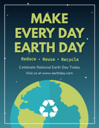 Blue and Green Earth Day Flyer