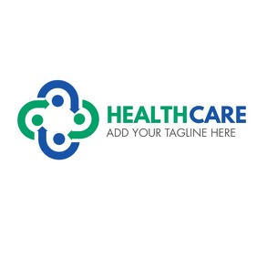blue and green logo icon medical care template