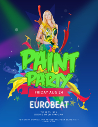 Blue and Green Paint Party Flyer