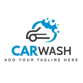blue and grey car wash logo template design