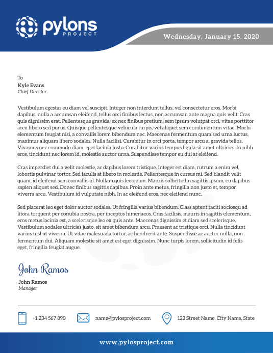 Blue and Grey Corporate Letterhead