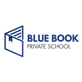 blue and grey education book icon logo