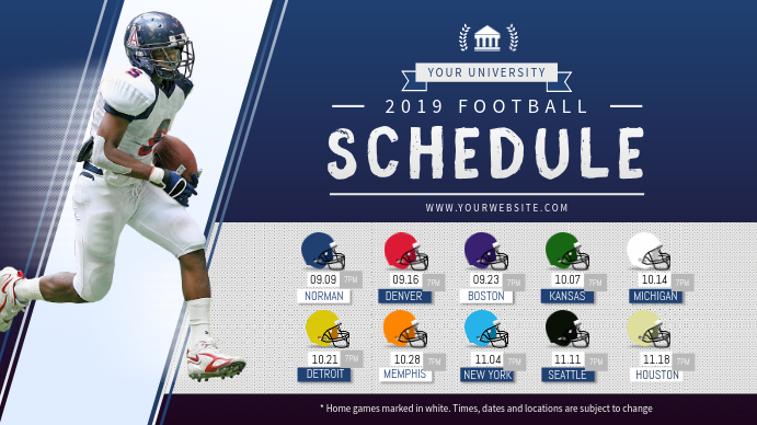 Blue and Grey Football Digital Display Schedule template