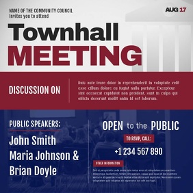 Blue and Maroon Townhall Meeting Square Video template