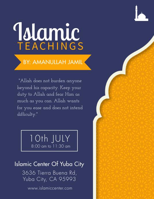 Blue and Mustard Islamic Sermon Flyer