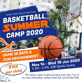 Blue and Orange Basketball Camp Square Video
