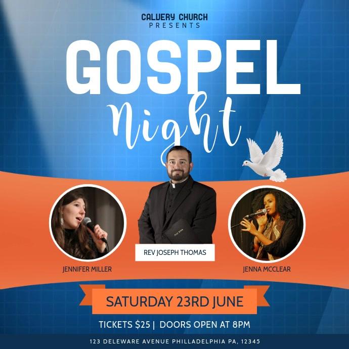 Blue and Orange Gospel Night Event Square Vid