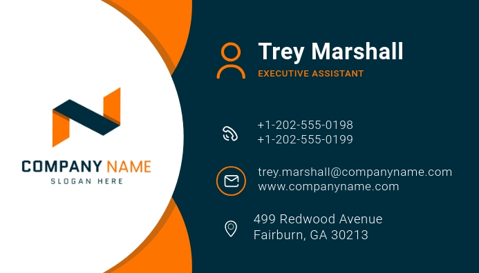 Blue and Orange Modern Business Card template