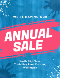 Blue and Pink Annual Sale Flyer