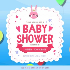 Blue and Pink Baby Shower Square Video Persegi (1:1) template