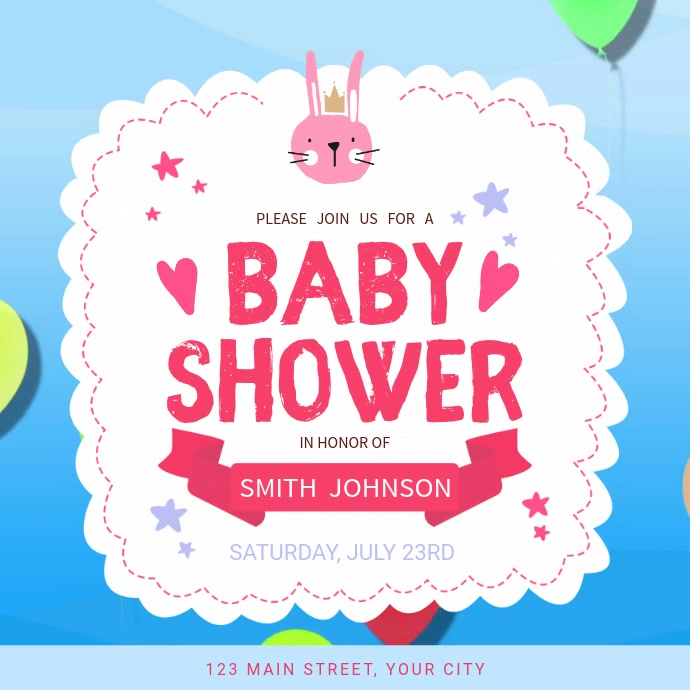 Blue and Pink Baby Shower Square Video