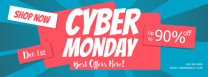 Blue and Pink cyber Monday Facebook Cover template