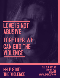 Blue and Pink Domestic Violence Flyer