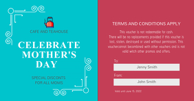 Blue and Pink Mother's Day Discount Voucher