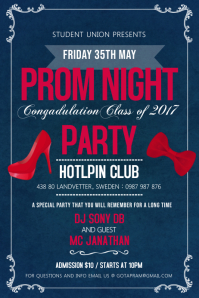 Blue and Pink Prom Night Party Poster