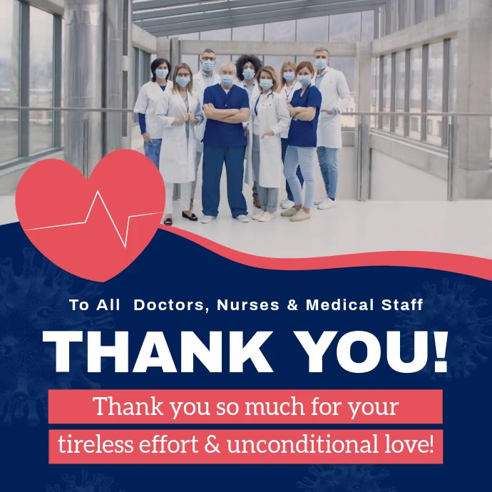 Blue and Pink Thank You Doctors Square Video Isikwele (1:1) template