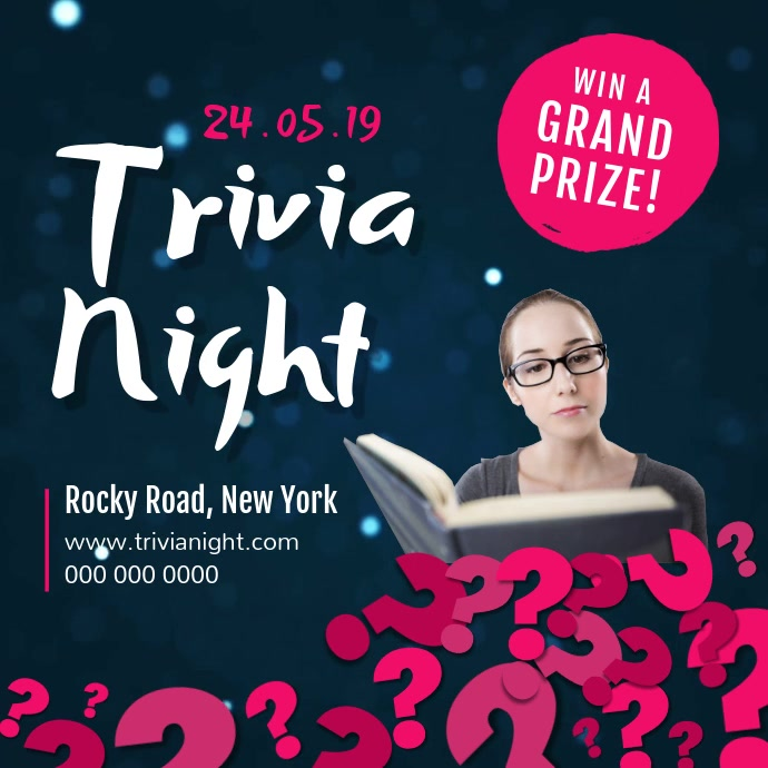 Blue and Pink Trivia Night Square Video