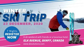 Blue and Pink Winter Sports Facebook Cover Vi template