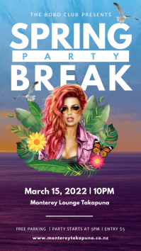 Blue and purple spring break party Instagram Instagram-Story template