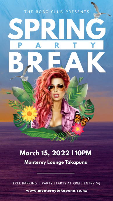 Blue and purple spring break party Instagram template