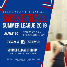 Blue and Red Basketball League Ad Square Vide
