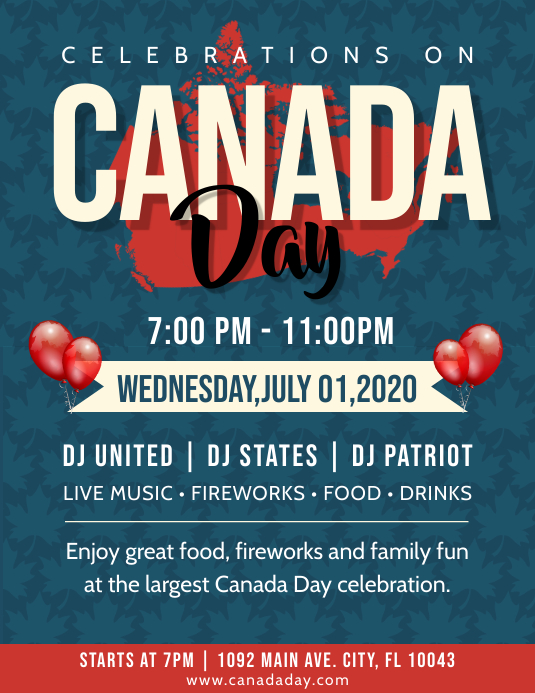 Blue and Red Canada Day Flyer Folheto (US Letter) template