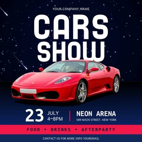Blue and Red Car Show Event Square Video template