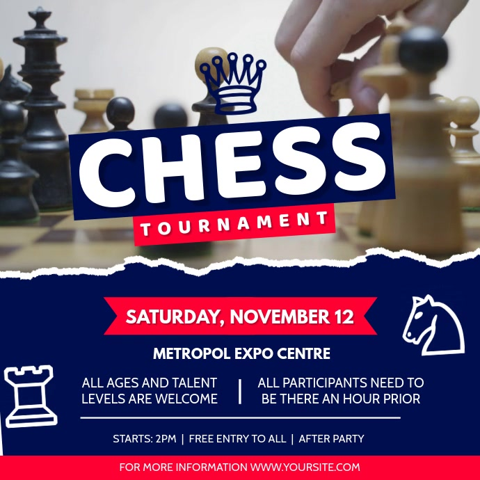 Blue and Red Chess Tournament Square Video