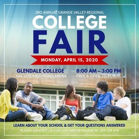 Blue and Red College Fair Ad Square Video