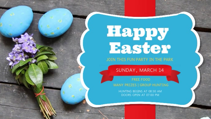 Blue and Red Easter Party Event Facebook Cover Video