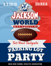 Blue and Red Football Tailgate Party Flyer template