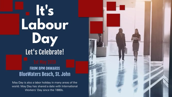 Blue and Red May Day Facebook Cover Video