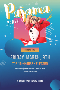 Blue and Red Pajama Party Poster