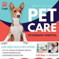 Blue and Red Pet Care Clinic Ad Instagram Post template