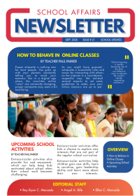 Blue and Red School Newsletter Template