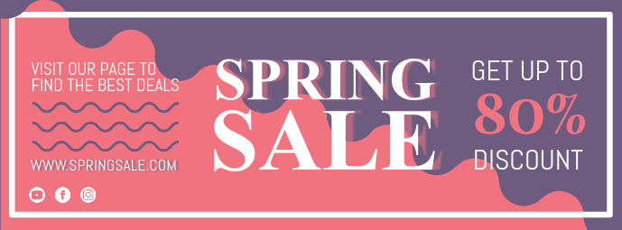 Blue and Red Spring Sale Banner