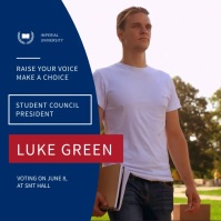 Blue and Red Student Council Election Square Video